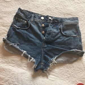 Zara Trafaluc Denim Distressed Button Fly Shorts